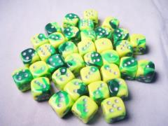 d6 12mm Green & Yellow w/Silver (36)