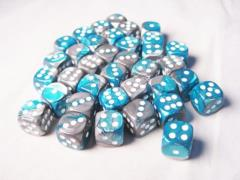 d6 12mm Steel & Teal w/White (36)