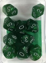 d10 Green w/Silver Black (10)