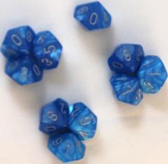 d10 Bright Blue w/Silver (10)