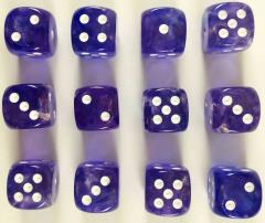 d6 16mm Purple w/White (12) (2nd Edition)