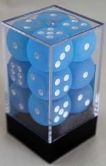 d6 16mm Caribbean Blue w/White (12)