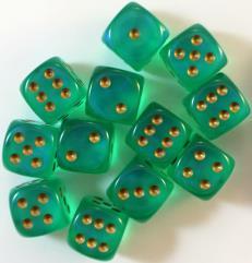 D6 16mm Light Green w/Gold (12)