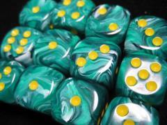D6 16mm Malachite Green w/Yellow (12)