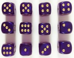 d6 16mm Royal Purple w/Gold (12) (2nd Edition)