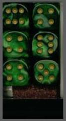 D6 16mm Green w/Gold (12)