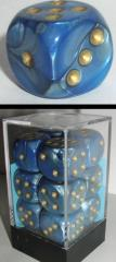 D6 16mm Blue w/Gold (12)