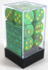 D6 16mm Slime w/Yellow (12)