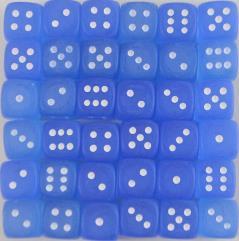 d6 12mm Blue w/White (36)