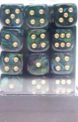 D6 12mm Jade w/Gold (36)