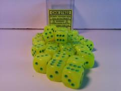 D6 12mm Electric Yellow w/Green (36)
