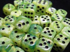 D6 12mm Bright Green w/Black (36)