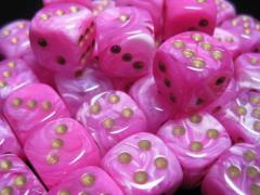 D6 12mm Pink w/Gold (36)