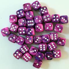 D6 12mm Violet w/White (36)
