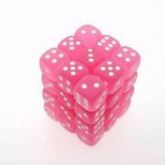 D6 12mm Pink w/White (36)