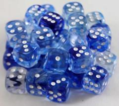 D6 12mm Dark Blue w/White (36)