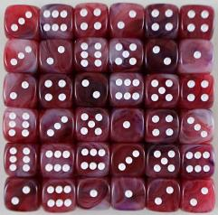 D6 12mm Cranberry w/White (36)
