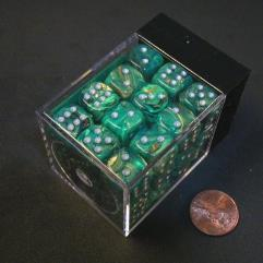 D6 12mm Green w/Silver (36)