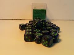 D6 12mm Dark Blue w/Green (36)