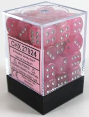 d6 12mm Pink w/Silver (36)