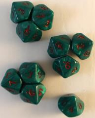D10 Ankh Green w/Red (10)