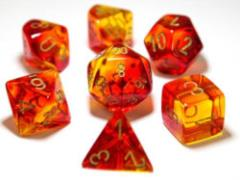 Poly Set Gemini Translucent Red & Yellow w/Gold (7)