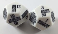 D12 Opaque White Dungeoneering Dice (2)