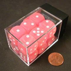 D6 16mm Pink w/White (12)