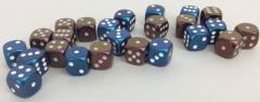 d6 16mm Blue w/White, Bronze w/White Duo (24)