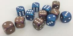 d6 16mm Bronze w/White, Blue w/White Mix (12)