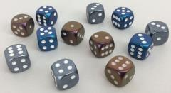 d6 16mm Blue w/White, Bronze w/White, Steel w/White Mix (12)