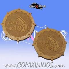 Set of 2 Wooden Fame Coins