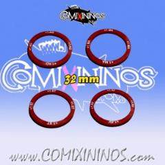 32mm Characteristic Increases Skill Rings - Deep Red
