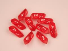 Crystal d6 Red w/White (10)
