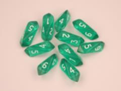 Crystal d6 Green w/White (10)