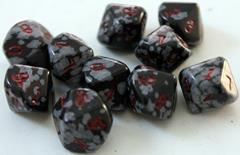 Snowflake Obsidian (black/white) (10 pc. set of d10's) w/Pouch