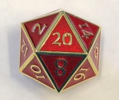 Giant d20 - Gold w/Red Enamel