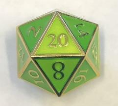 Giant d20 - Gold w/Green Enamel