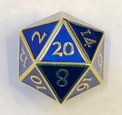 Giant d20 - Gold w/Blue Enamel