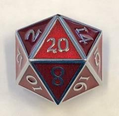 Giant d20 - Silver w/Red Enamel
