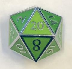 Giant d20 - Silver w/Green Enamel
