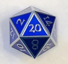 Giant d20 - Silver w/Blue Enamel