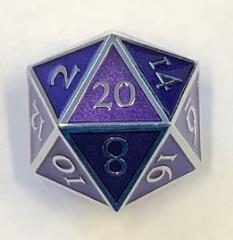 Giant d20 - Silver w/Purple Enamel