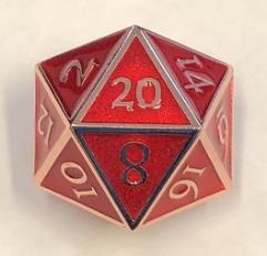 Giant d20 - Copper w/Red Enamel