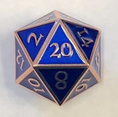 Giant d20 - Copper w/Blue Enamel