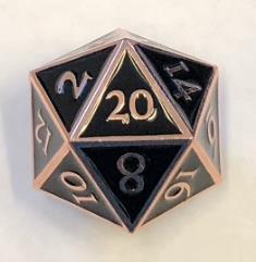 Giant d20 - Copper w/Black Enamel
