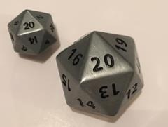 Giant d20 - Antique Silver w/Italic Recess