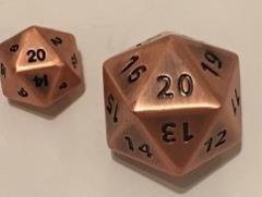 Giant d20 - Antique Copper w/Italic Recess