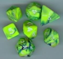 Mini Poly Set Green w/Blue (7)
