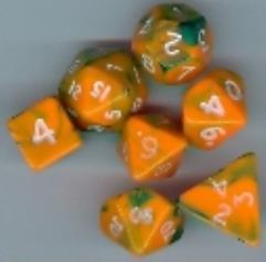 Mini Poly Set Orange w/Green (7)